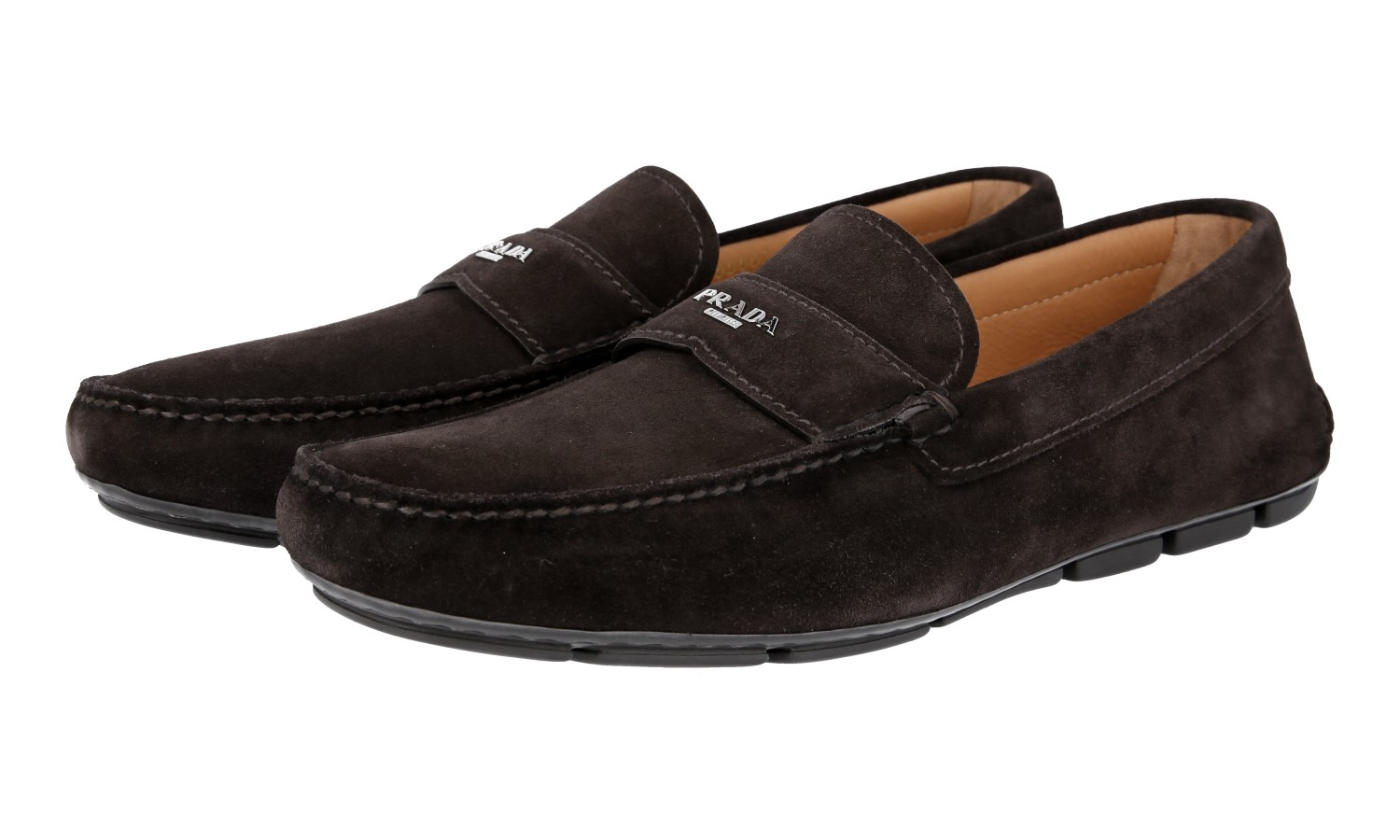 0ffa4262196 Details about AUTH LUXURY PRADA LOGO LOAFER SHOES 2DD007 BROWN SUEDE US 11  EU 44 44
